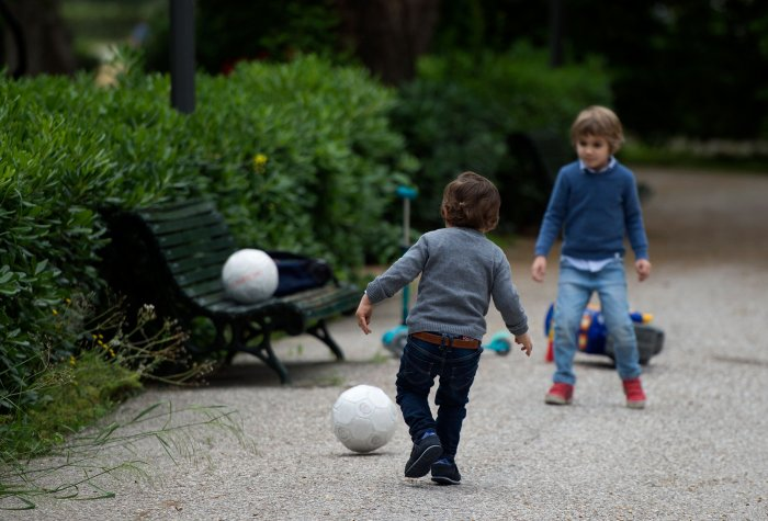 Children will be allowed one hour of supervised outdoor activity per day between 9 a.m. and 9 p.m., staying within one kilometre of their home. (Credit: AFP Photo)
