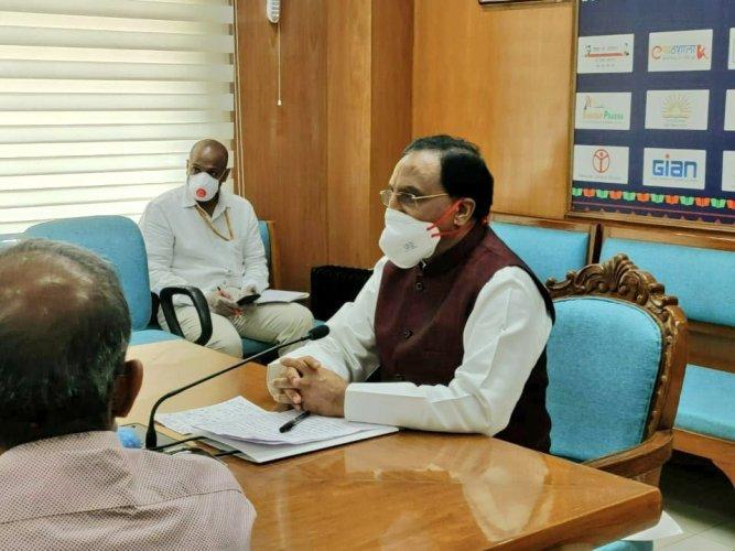 "HRD Minister Ramesh Pokhriyal ""Nishank"". Credit: Twitter (DrRPNishank)"