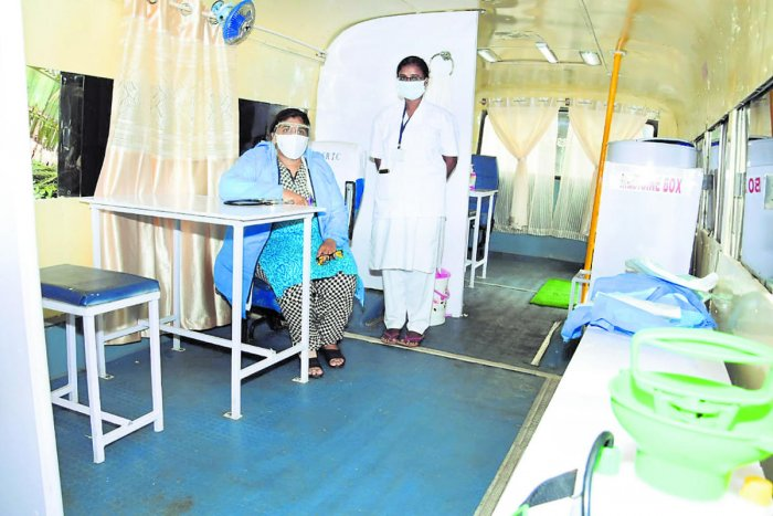 The interiors of the mobile fever clinic launched by the Karnataka State Road Transport Corporation in Mysuru on Saturday.
