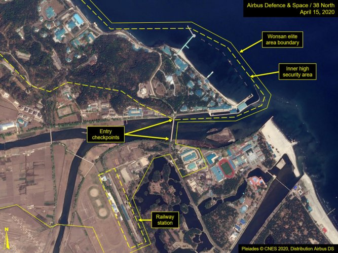 What is described by Washington-based North Korea monitoring project 38 North as a leadership train station servicing North Korean leader Kim Jong Un's Wonsan complex is seen in a satellite image with graphics taken over Wonsan, North Korea April 15, 2020. Image taken April 15, 2020. Airbus Defence & Space and 38 North ?Pleiades ? CNES 2020, Distribution Airbus DS?/Handout via REUTERS