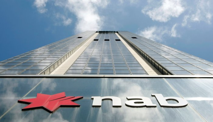 The company logo indicates the front of National Australia Bank house in Sydney. (Reuters)