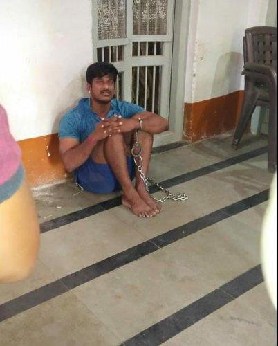 COBRA Commando Sachin Sawant was handcuffed at Sadalga police station in Chikkodi taluk in Belagavi district. (DH Photo)