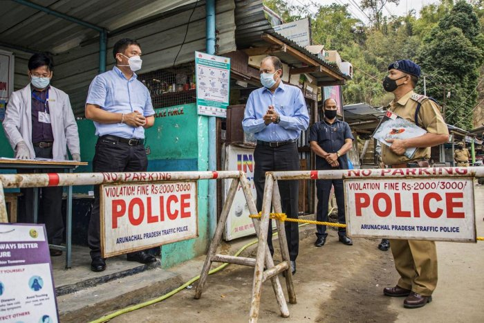 Arunachal Pradesh Chief Minister Pema Khandu carries out spot verification at Banderdewa check gate in Arunachal-Assam border to ensure that all points of entry into the state are fully equipped to detect any COVID-19 suspected cases, Saturday, April 18, 2020 (PTI Photo)