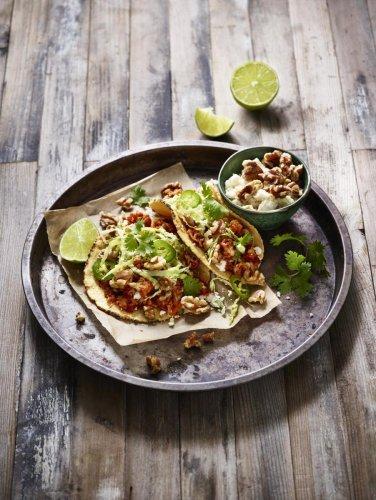 Roasted walnut and cauliflower tacos