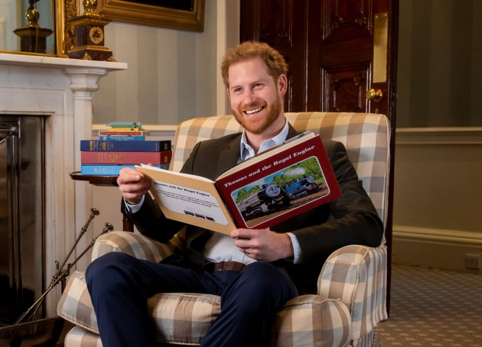 """Britain's Prince Harry is pictured during the recording of his on-camera introduction to the new animated special """"Thomas & Friends: The Royal Engine"""" featuring Britain's Queen Elizabeth and Britain's Prince Charles as a child. (Reuters)"""
