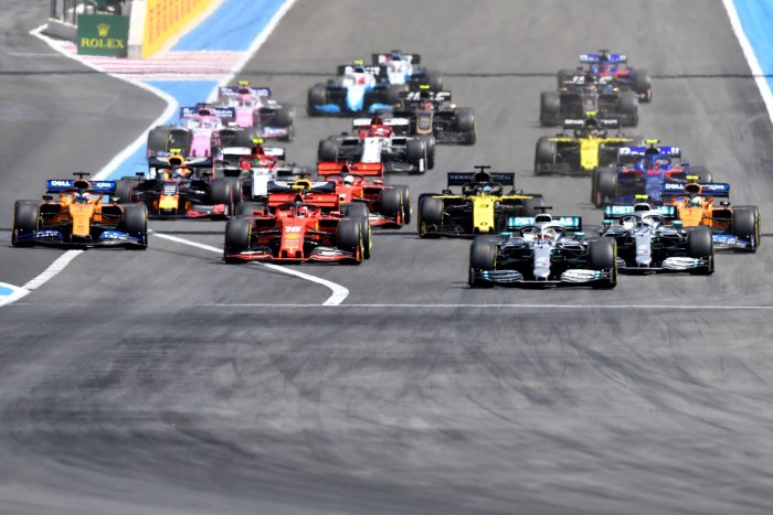 In this file photo taken on June 23, 2019 drivers take the start of the Formula One Grand Prix de France at the Circuit Paul Ricard in Le Castellet, southern France. (AFP)