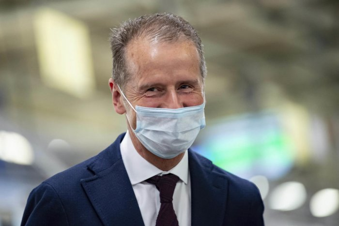 Volkswagen CEO Herbert Diess wears a face mask in the VW headquarters production plant in Wolfsburg. AP/PTI
