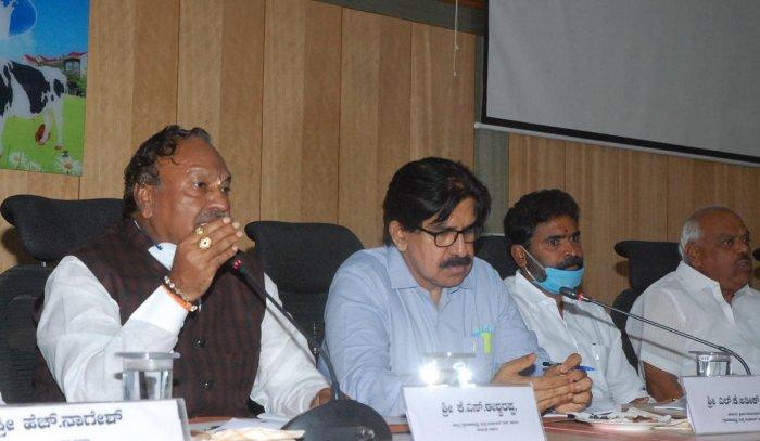 Rural Development and Panchayat Raj Minister K S Eshwarappa on chairs a progress review meeting in Kolar on Monday.