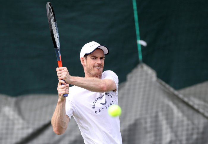 Andy Murray during practice (Reuters)
