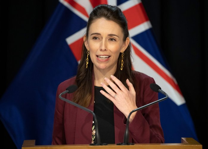 New Zealand's Prime Minister Jacinda Ardern briefs the media about the COVID-19 coronavirus at the Parliament House in Wellington. (AFP Photo)