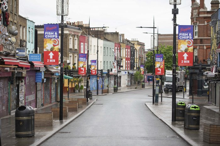 A general view of a deserted Camden High Street, as the UK continues its lockdown to help curb the spread of coronavirus, in London. (Credit: AP Photo)