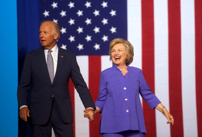 """Hillary Clinton endorsed Joe Biden's White House bid on April 28, 2020, saying he is the type of """"leader"""" the US needs during the current coronavirus crisis. """"I want to add my voice to the many who have endorsed you to be our president,"""" Clinton said during a live video conference with the former vice president. (AFP File Photo)"""