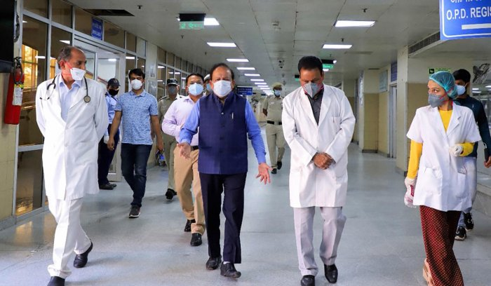 Union Minister for Health & Family Welfare, Science & Technology and Earth Sciences, Dr. Harsh Vardhan visits Lok Nayak Jaiprakash Narayan Hospital to take stock of preparedness to overcome COVID-19, in New Delhi, Saturday, April 4, 2020. (PIB/PTI Photo)