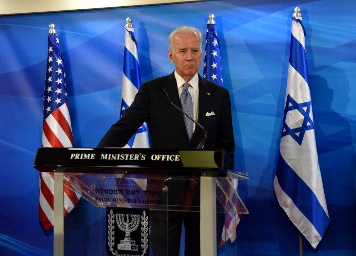 US Vice President Joe Biden speaks in Jerusalem. (AFP Photo)