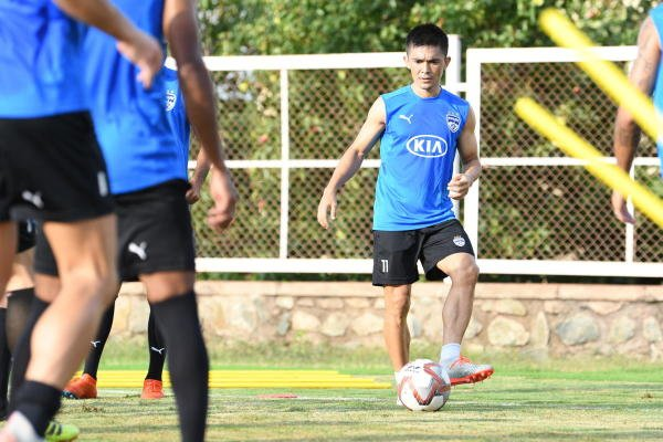Bengaluru FC's Sunil Chhetri sweats it out during a training session on the eve of their match against Kerala Blasters. BFC media