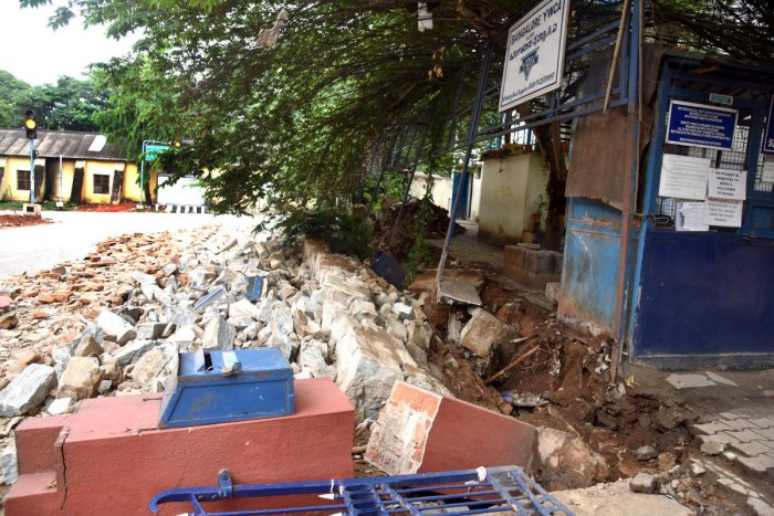 Tunbridge High School compound wall is collapse due to heavy rain and Tender SURE work at Infantry Road in Bengaluru on Wednesday, 29 April 2020. Photo by S K Dinesh