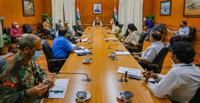 Defence Minister Rajnath Singh chairs a meeting with Chief of Defence Staff, Tri-Service Chiefs and senior officials of Ministry of Defence, in New Delhi, Thursday, April 30, 2020. Credit: PTI Photo