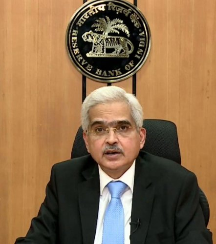 RBI Governor Shaktikanta Das addresses a press conference via video link during the nationwide lockdown to curb the spread of coronavirus, in Mumbai, Friday, April 17, 2020. (PTI Photo)
