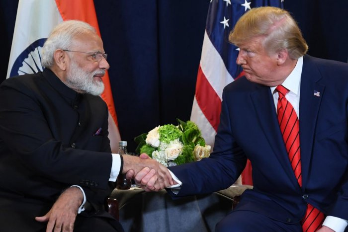 US President Donald Trump and Indian Prime Minister Narendra Modi hold a meeting at UN Headquarters in New York, September 24, 2019, on the sidelines of the United Nations General Assembly. (Photo by SAUL LOEB / AFP)