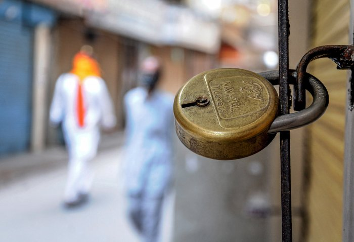 Closed shops at a market in Amritsar, Monday, mARCH 23, 2020. Punjab Chief Minister Captain Amarinder Singh on Sunday ordered statewide lockdown. (PTI Photo)