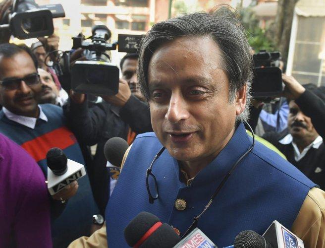 New Delhi: Congress MP Shashi Tharoor during the ongoing Winter Session of Parliament, in New Delhi, Friday, Dec.14, 2018. (PTI Photo/Kamal Kishore)(PTI12_14_2018_000062B)