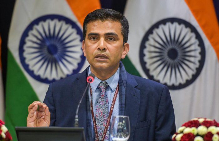 """""""We reiterate our view that the final status issues should be resolved through direct negotiations between the two Parties and be acceptable to both,"""" Raveesh Kumar, spokesperson of the Ministry of External Affairs, said."""
