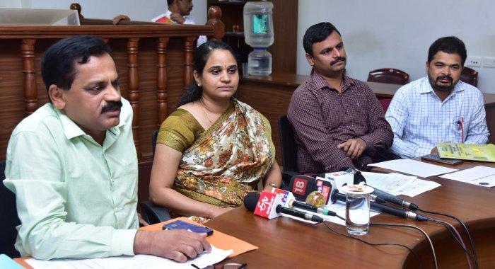 DHO Dr Ramakrishna Rao speaks to reporters in Mangaluru on Friday.