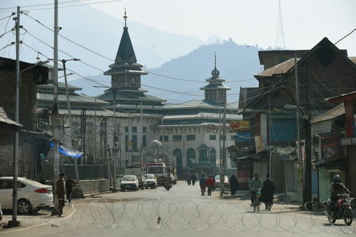 A view of near deserted Jamia Masjid during restrictions in Srinagar, Friday, March 20, 2020. Authorities imposed restrictions on second day as a precautionary measures after first case of coronavirus was detected in the Valley. (PTI Photo)