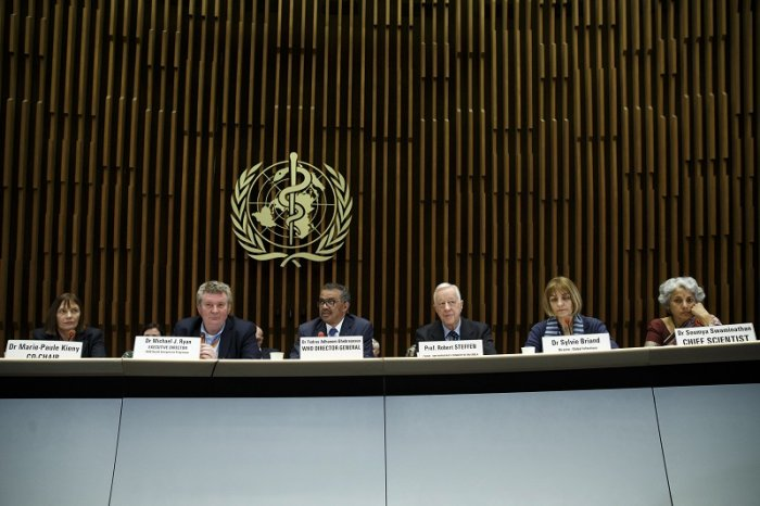 Tedros Adhanom Ghebreyesus, Director General of the World Health Organization (WHO), 3rd left, with other members of the WHO panel, facing the media about the response to the COVID-19 virus outbreak, at the World Health Organization (WHO) headquarters in Geneva, Switzerland. (PTI Photo)