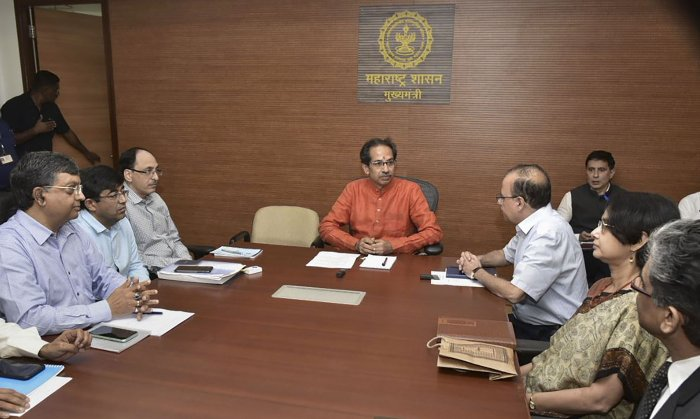 Maharashtra Chief Minister Uddhav Thackeray in a meeting with senior officers at Mantralaya after formally taking charge of his office, in Mumbai. (PTI Photo)