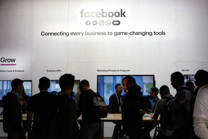 In this file photo taken on April 30, 2019 People attend the Facebook F8 Conference at McEnery Convention Center in San Jose, California. - Facebook on February 27, 2020 canceled its annual F8 developers conference, the biggest annual event for the US tec