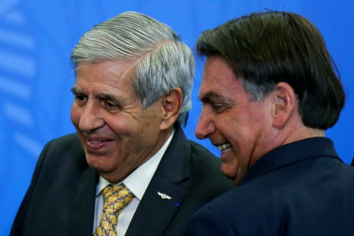 Brazil's Minister of Institutional Security Augusto Heleno (L) reacts next to Brazil's President Jair Bolsonaro. (Reuters file photo)
