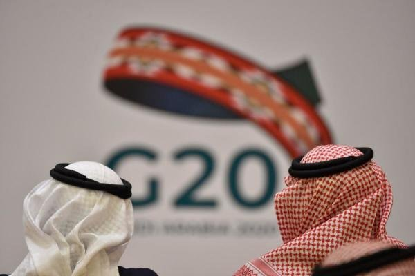 Unidentified guests attend a meeting of Finance ministers and central bank governors of the G20 nations in the Saudi capital Riyadh on February 23, 2020. (AFP Photo)