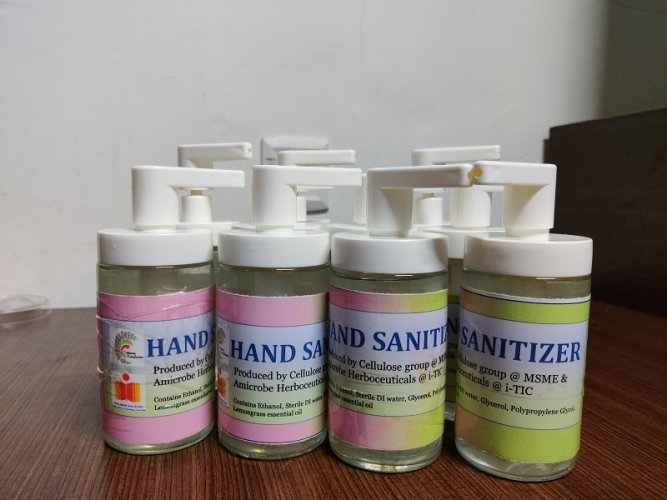 A hand sanitizer has been developed in-house at the Indian Institute of Technology Hyderabad. (DH hoto)