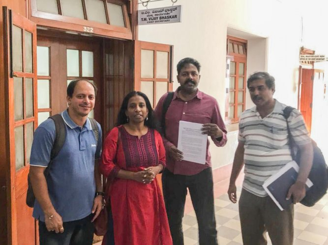 The members of five organisations met chief secretary Vijay Bhaskar on Friday as part of the ongoing movement, #ModaluTrainBeku, and submitted a memorandum.