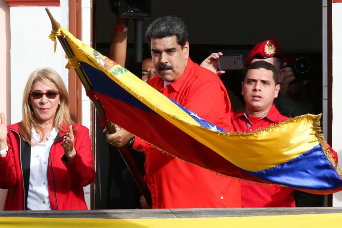 Nicolas Maduro attends a rally in support of his government and to commemorate the 61st anniversary of the end of the dictatorship of Marcos Perez Jimenez. Reuters/Handout.