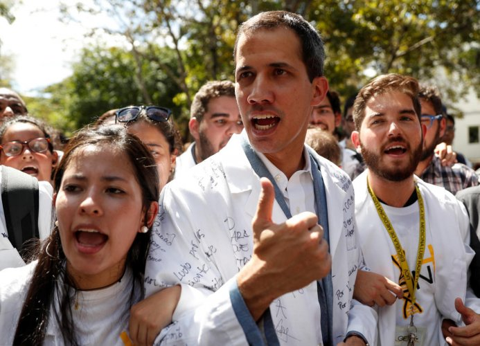 Venezuelan opposition leader and self-proclaimed interim president Juan Guaido takes part in a protest against Venezuelan President Nicolas Maduro's government in Caracas. Reuters file photo.