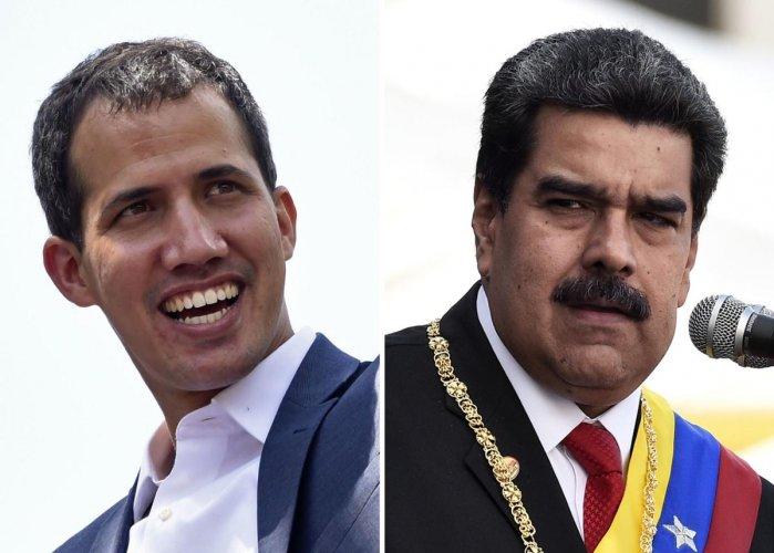 Venezuelan opposition leader Juan Guaido (L) and Venezuelan President Nicolas Maduro. (AFP Photo)