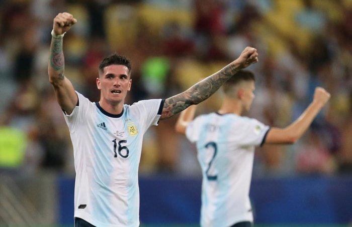 Argentina's Rodrigo De Paul celebrates after the match. (REUTERS)