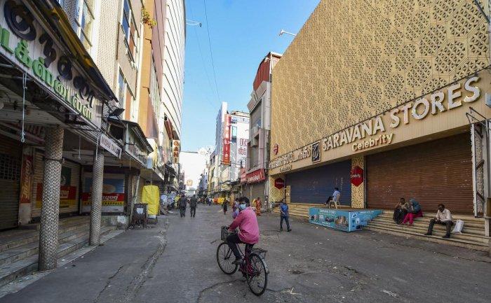 Sparse crowd at Ranganathan street due to the coronavirus outbreak. PTI/representative image