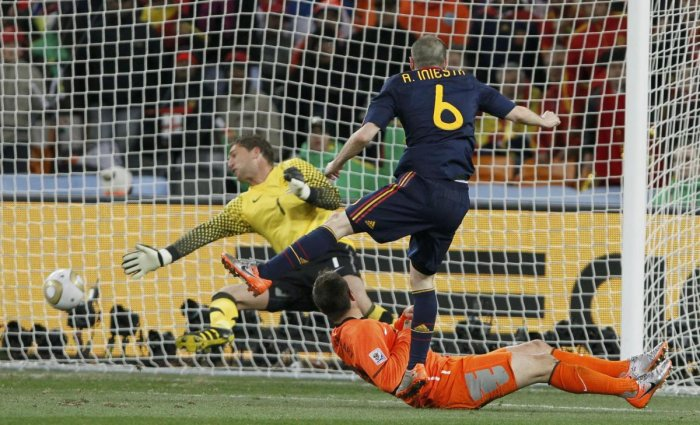 Andres Iniesta scores in the final of the 2010 World Cup against Netherlands.