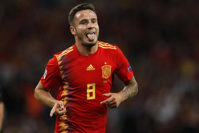 DELIGHTED: Spain's Saul Niguez celebrates after scoring his team's equaliser against England in their Nations League tie on Saturday. AFP