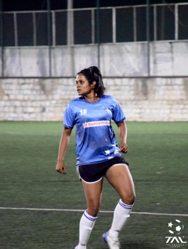 The footballer from Bengaluruhas a foot in the door - an opportunity to play for the reserve side of Madrid Club de Futbol Femenino, a La Liga Division 1 side. She feels that's all she needs to kick open that metaphorical door to be a full-time professional.