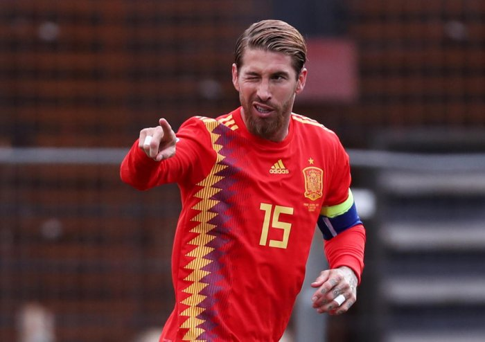 ON TARGET: Spain's Sergio Ramos celebrates after scoring their first goal against Faroe Islands. Reuters