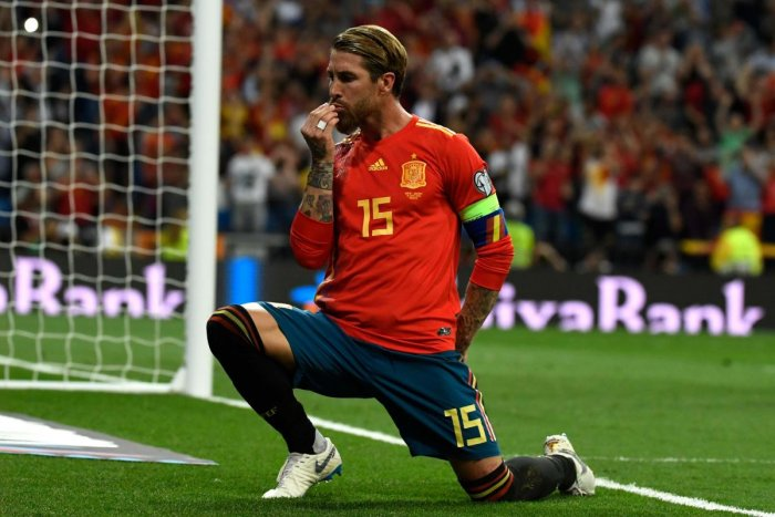 Spain's Sergio Ramos celebrates after scoring a penalty against Sweden during their Euro qualifying match in Madrid on Monday. AFP