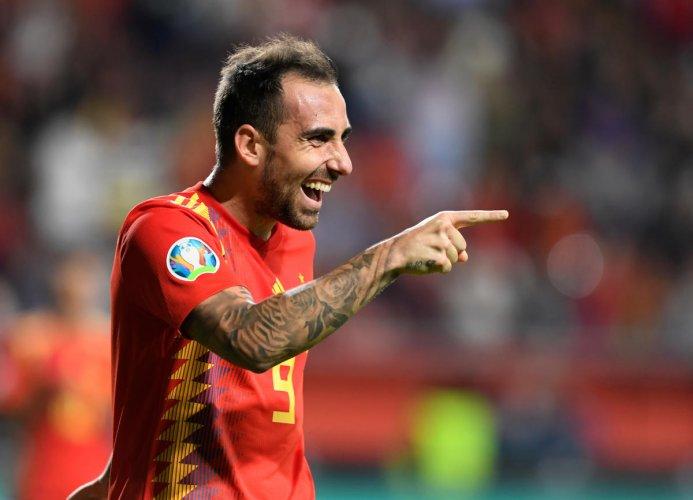 Spain's Paco Alcacer celebrates scoring their fourth goal. (Reuters Photo)