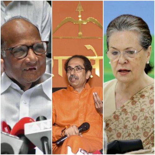 NCP chief Sharad Pawar, Shiv Sena president Uddhav Thackeray and Congress interim chief Sonia Gandhi. (Left to Right)