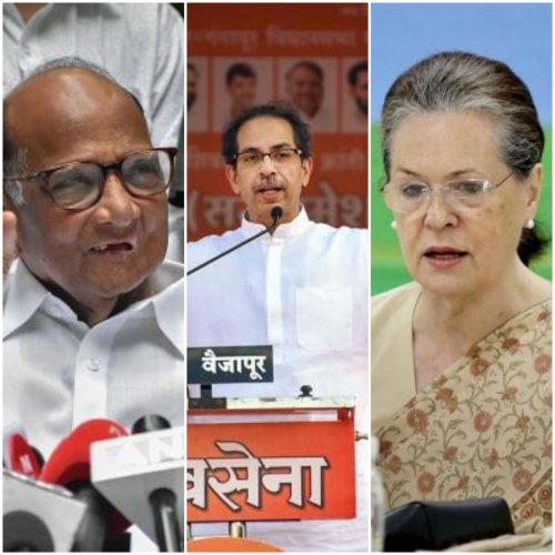 NCP chief Sharad Pawar, Shiv Sena president Uddhav Thackeray and Congress president Sonia Gandhi. (DH photo)