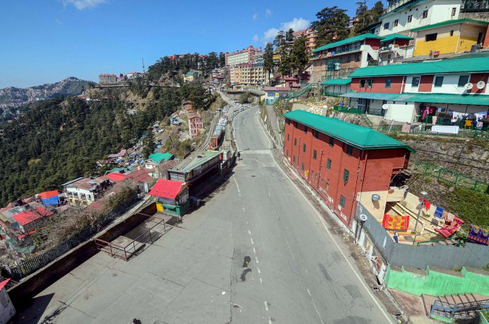 A view of Shimla during the Janta Curfew. (Credit: PTI)
