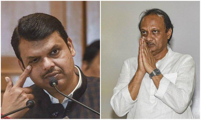 BJP leader Devendra Fadnavis and NCP leader Ajit Pawar.